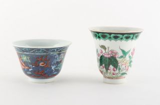 Property of a gentleman - two 19th century Chinese porcelain wine cups, the taller with underglaze