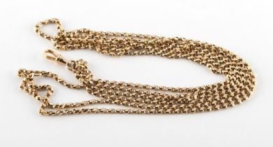 A 9ct gold watch chain, approximately 27.9 grams.
