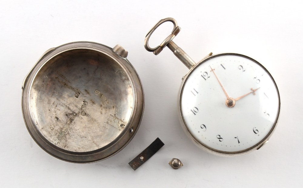 A George III silver pair cased pocket watch, Robert Bridges, London, with verge escapement, the - Image 2 of 3