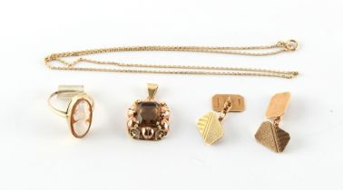 A Continental gold smoky quartz pendant on 9ct gold chain necklace; together with a pair of 9ct gold