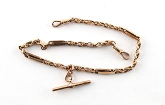 A 9ct gold fancy link double albert watch chain, approximately 22.5 grams.