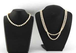 A cultured pearl two row necklace, the uniform pearls approximately 7mm diameter; together with a