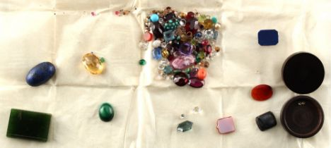 A bag containing assorted gemstones, etc. including two small diamonds, approximately 3 and 4 points