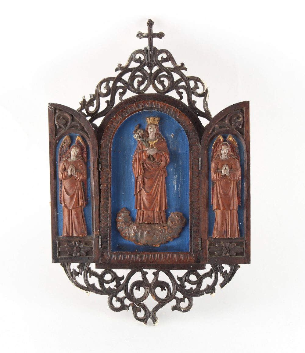 A 19th century South German carved & painted wood devotional triptych, Oberammergau, Bavaria, with