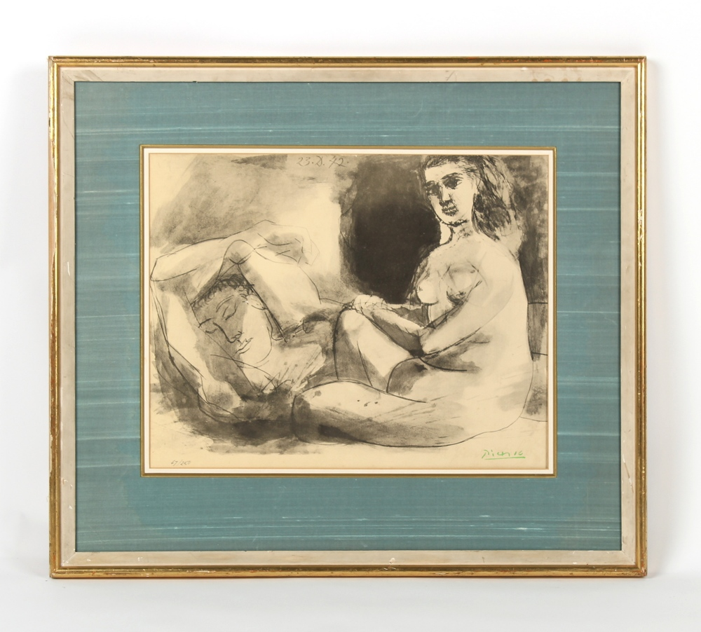 After Pablo Picasso - 'HOMME COUCHE ET FEMME ASSISE' from the series 'La Flute Double' - print,