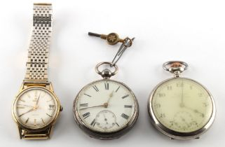 A Victorian silver cased pocket watch, London 1877; together with a Continental pocket watch; and