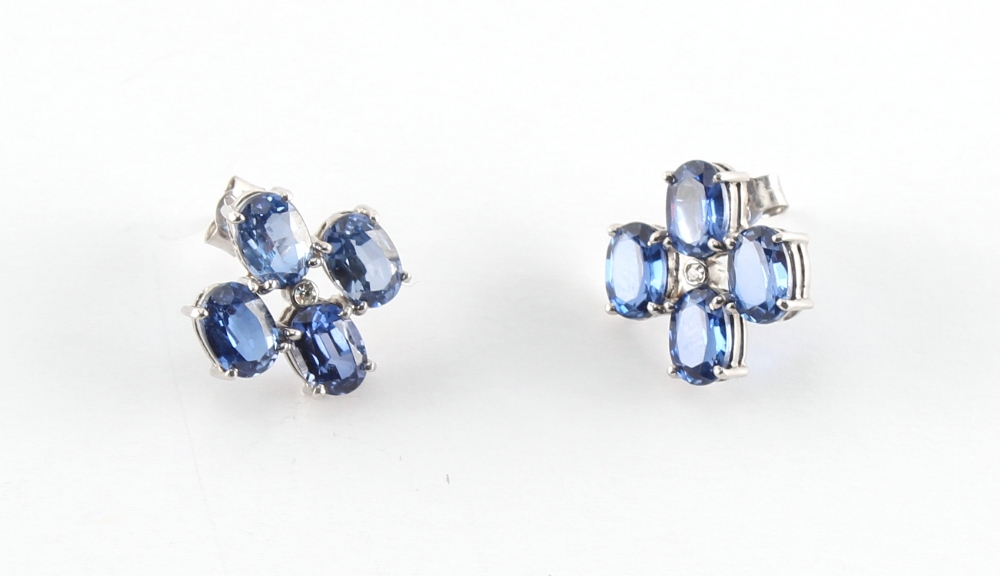 A good pair of white gold sapphire & diamond earrings, with post & butterfly fastenings, each with - Image 2 of 2
