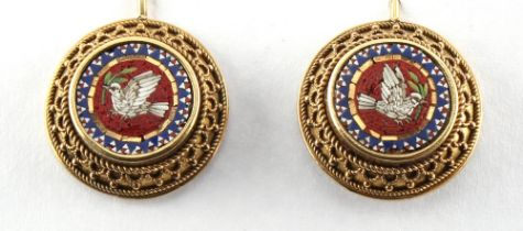 A pair of Victorian micromosaic earrings, for pierced ears, each decorated with a central bird, each