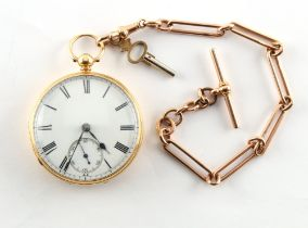An 18ct gold cased pocket watch, the fusee movement marked for Frederick Thompson, Liverpool, on
