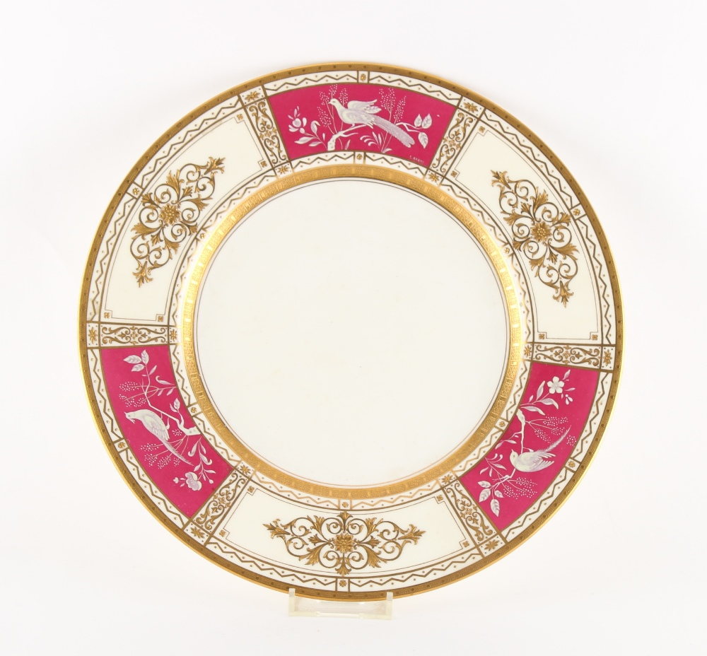 Minton for Tiffany & Co., New York - a pate sur pate plate, by Stanley Adams (active 1929-1980), one
