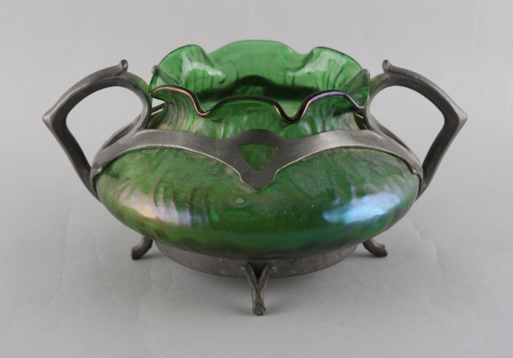 An early 20th century Art Nouveau pewter mounted green iridescent glass, the pewter foot rim - Image 2 of 2