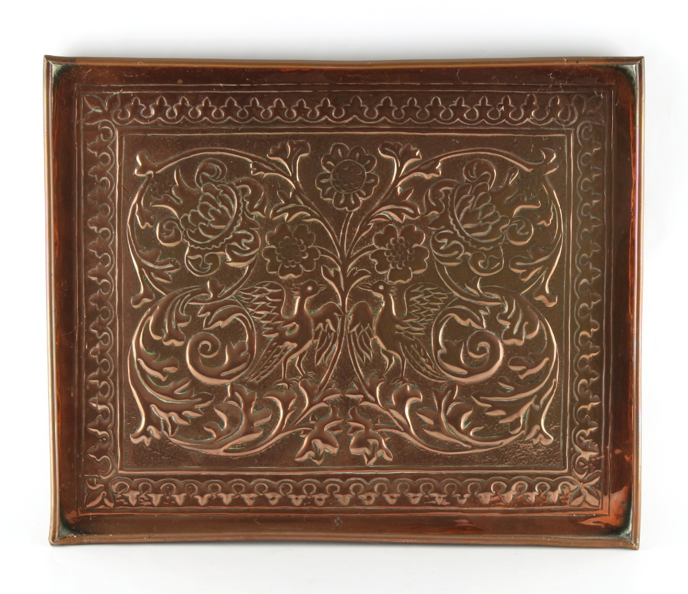 Keswick School of Industrial Arts - a copper rectangular tray, decorated with two exotic birds among