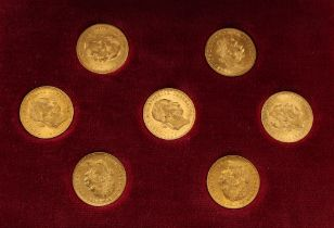 A cased set of seven Austrian One Ducat gold coins, each dated 1915.