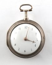 A George III silver pair cased pocket watch, Robert Bridges, London, with verge escapement, the