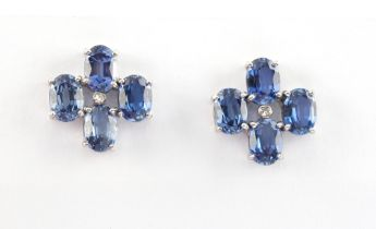 A good pair of white gold sapphire & diamond earrings, with post & butterfly fastenings, each with