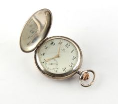 An Omega 800 grade silver hunter cased pocket watch (appears to be working but no guarantees are
