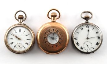 A Danish silver cased pocket watch; together with another silver cased pocket watch; and a gold