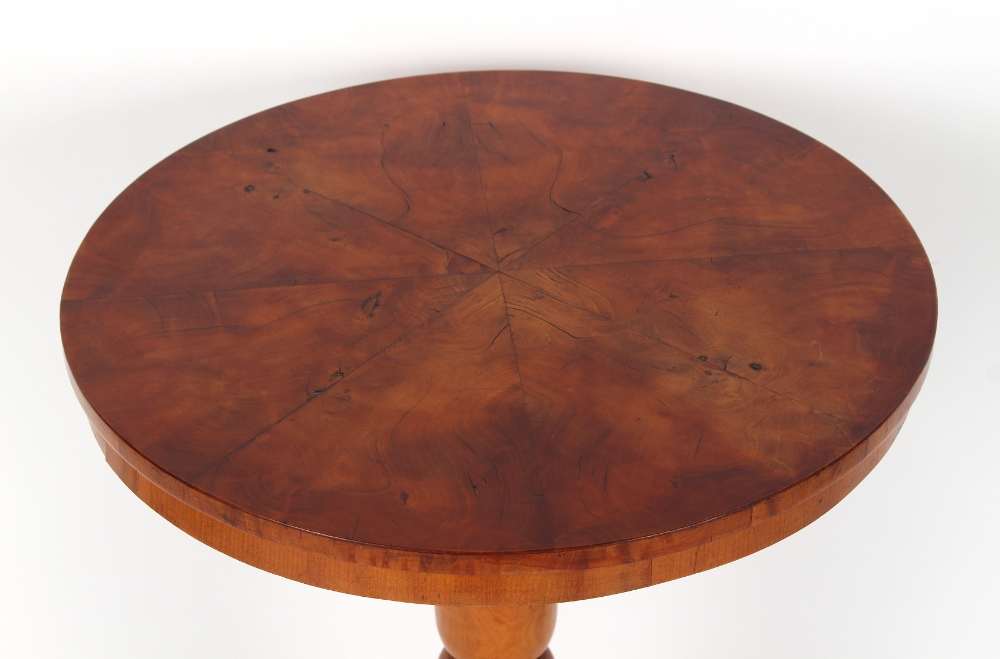 A fruitwood circular topped tripod occasional table, 20ins. (51cms.) diameter. - Image 2 of 2