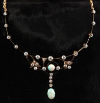 A very attractive opal & diamond necklace, the estimated total diamond weight approximately 2.25