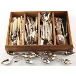 Twelve Georgian & Victorian silver teaspoons; together with a pair of silver sugar nips; and a