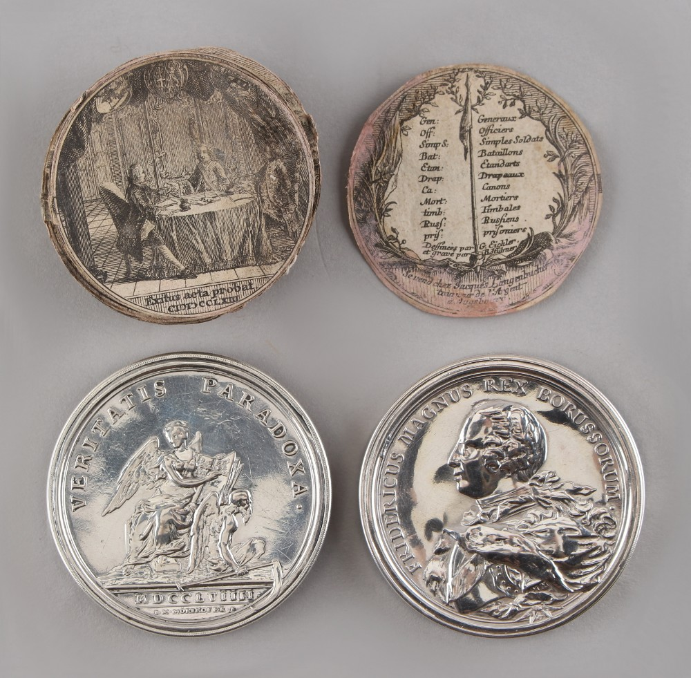 A rare Bern silver box medallion commemorating Friedrich II's victories in the Silesian Wars, by