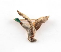 A 9ct three colour gold & enamel brooch modelled as a drake mallard duck, 36mm across, approximately