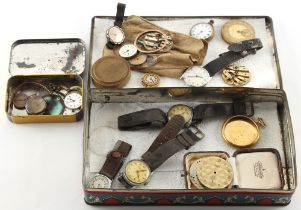 A tin containing wristwatches & watch parts.
