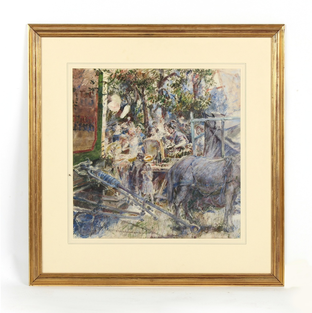 Claude Bendall (1891-1970) - 'FETE DAY' - gouache, 23.1ins. (58.7cms.) square, in glazed gilt