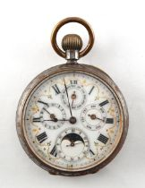 A Swiss gun metal cased calendar pocket watch with moon phase, some rusting to case.