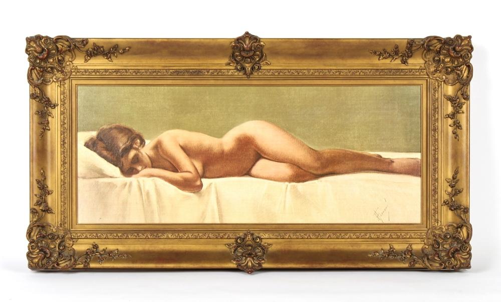 Aldo Fornoni (Italian, 1907-2011) - RECLINING FEMALE NUDE - oil on canvas, 16 by 39.25ins. (40.6