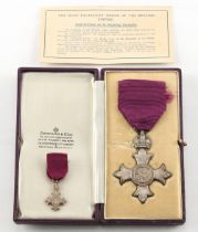A cased George VI silver M.B.E., civil division; together with companion dress miniature.