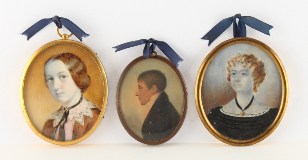 Three assorted portrait miniatures, the largest 7.8 by 6.0cms., all framed (3).