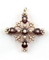 A good Georgian garnet pearl & seed pearl cross pendant, with closed back setting, 54mm long