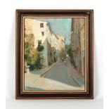 J. Galin (?) - RUE DE LA TRINITE, LOURGES, SOUTH OF FRANCE - oil on canvas, 21.65 by 17.3ins. (55 by
