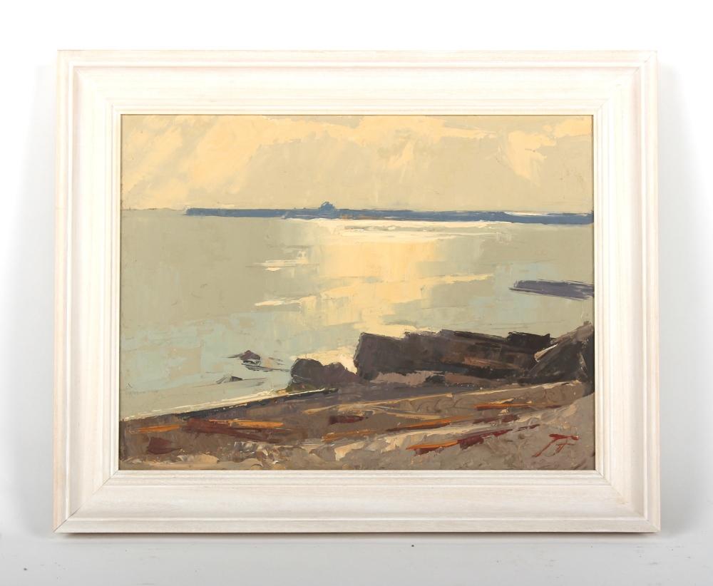 James Fry (1911-1985) - DORSET COASTAL SCENE - oil on board, 12 by 16ins. (30.5 by 40.6cms.), in