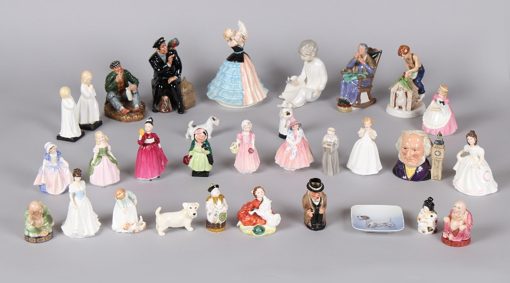 A collection of twenty-one Royal Doulton figures & character jugs; together with six Royal Worcester