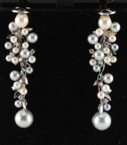A pair of 18ct white gold two colour grey & cream pearl & diamond earrings modelled as grapes on