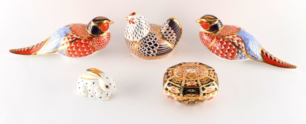 A group of five Royal Crown Derby items including an imari pattern 6299 elongated octagonal box &
