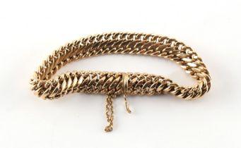 A 9ct gold flat link bracelet, approximately 14.5 grams.