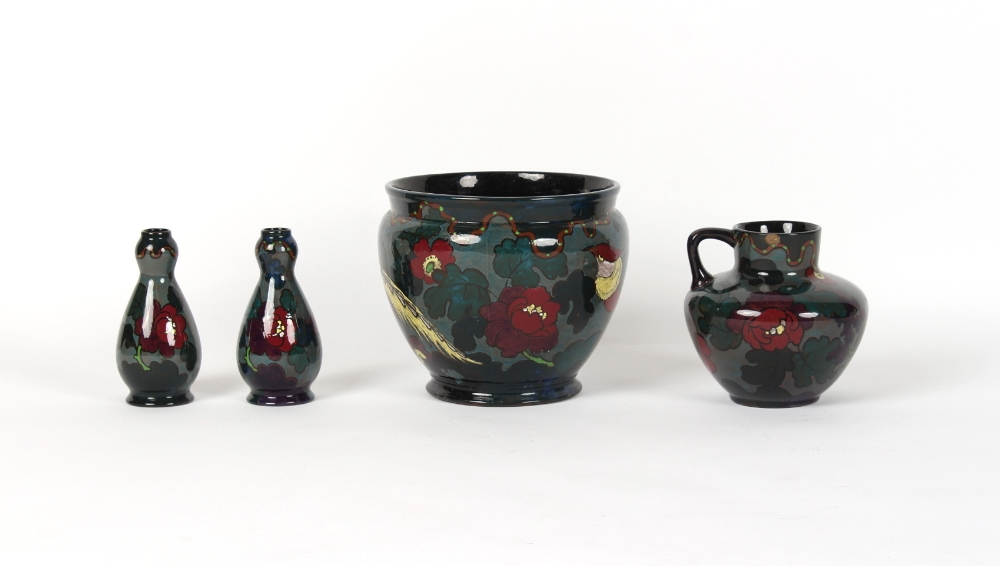 Four early 20th century Decoro pottery items comprising a planter, a ewer and a pair of garlic - Image 2 of 2