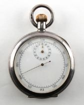 An early 20th century Swiss silver cased stop watch, import marks for London 1908 (appears to be