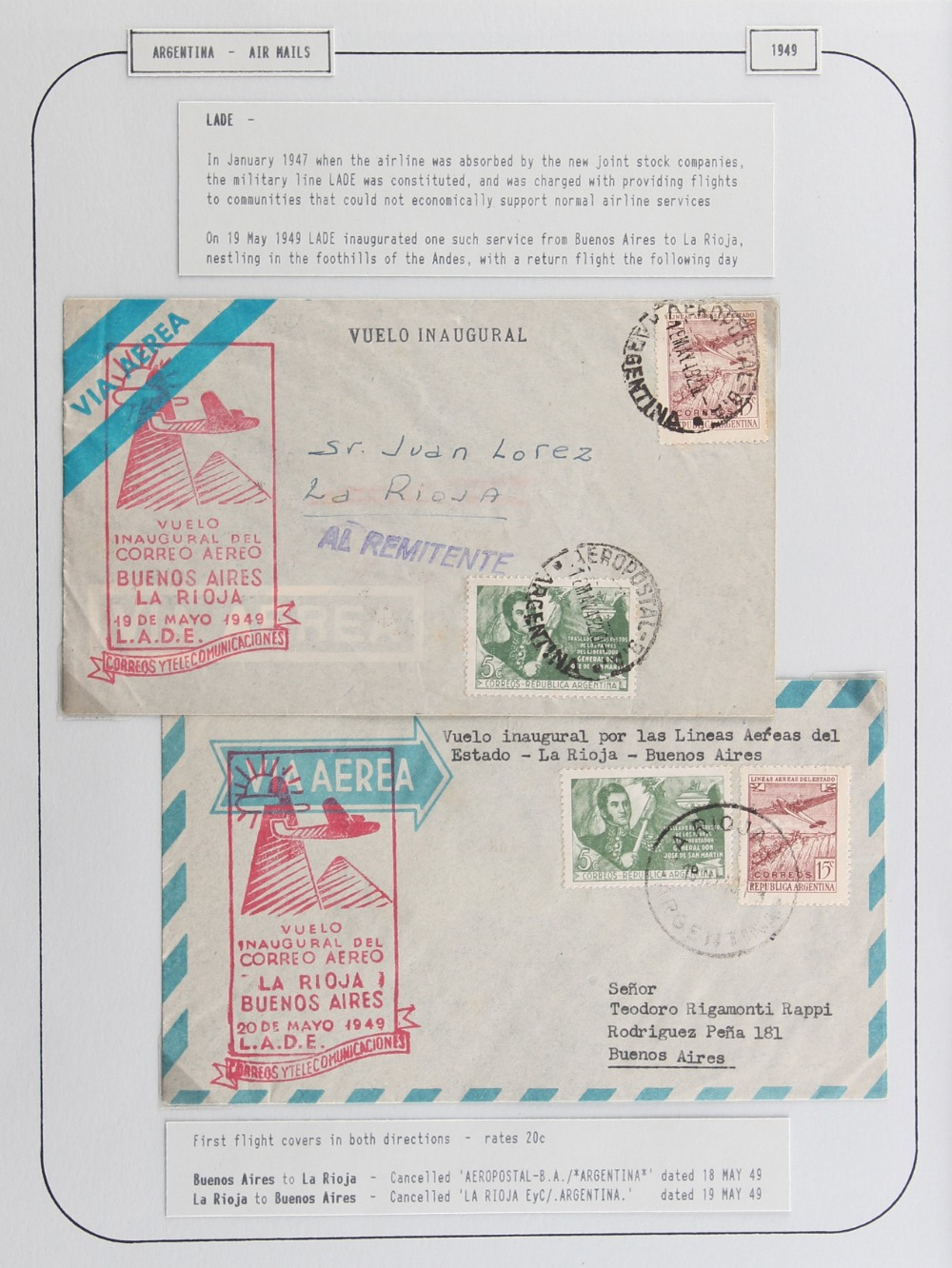 The Basil Lewis (1927-2019) collection of stamps - Argentina: 1940-60 including LADE, Condor /