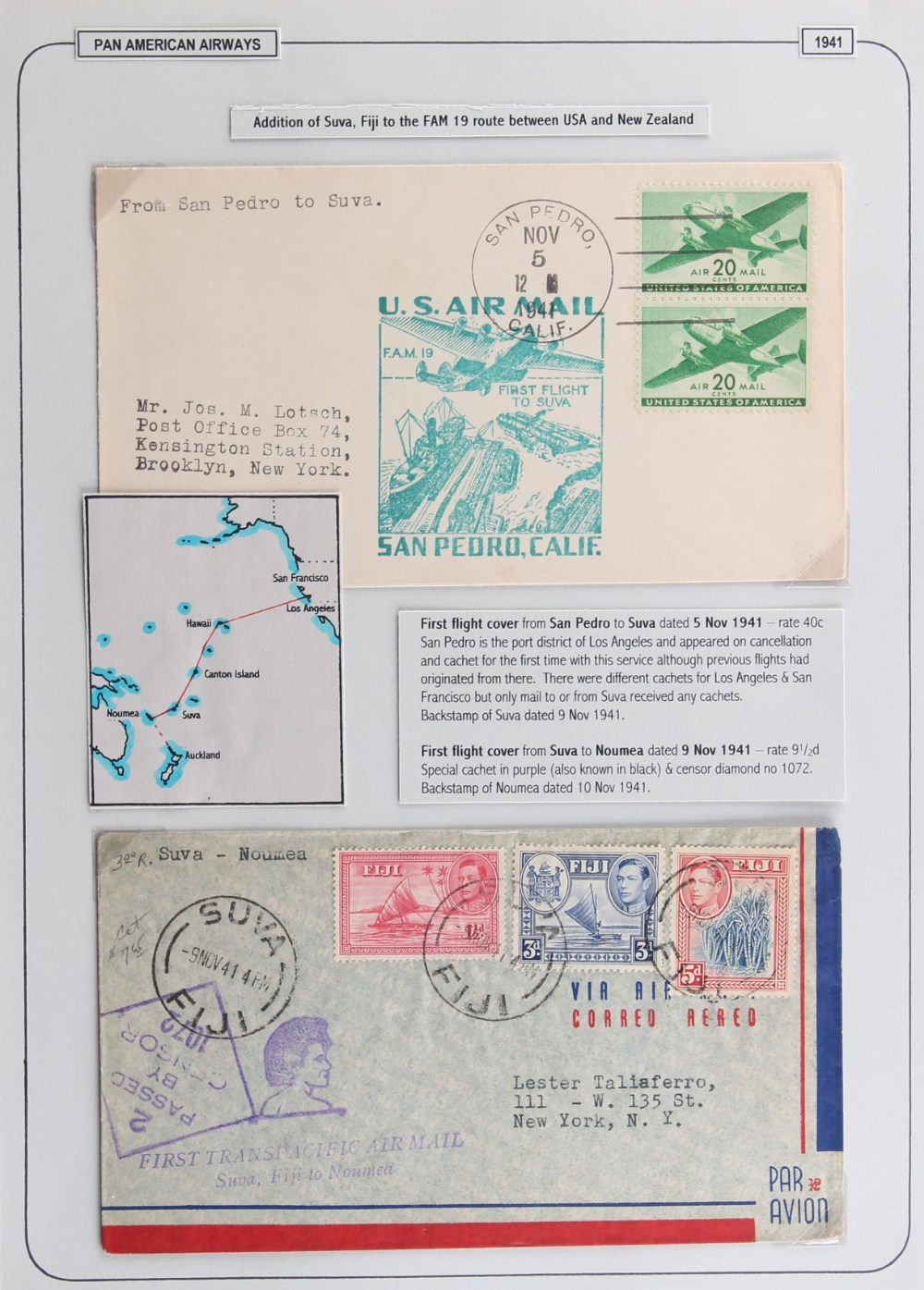 The Basil Lewis (1927-2019) collection of stamps - World: PanAm flights to the Pacific including