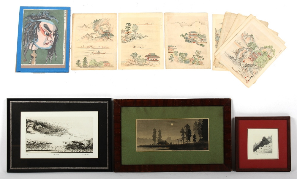 Property of a gentleman - a set of twelve unframed Japanese woodblock prints; together with a