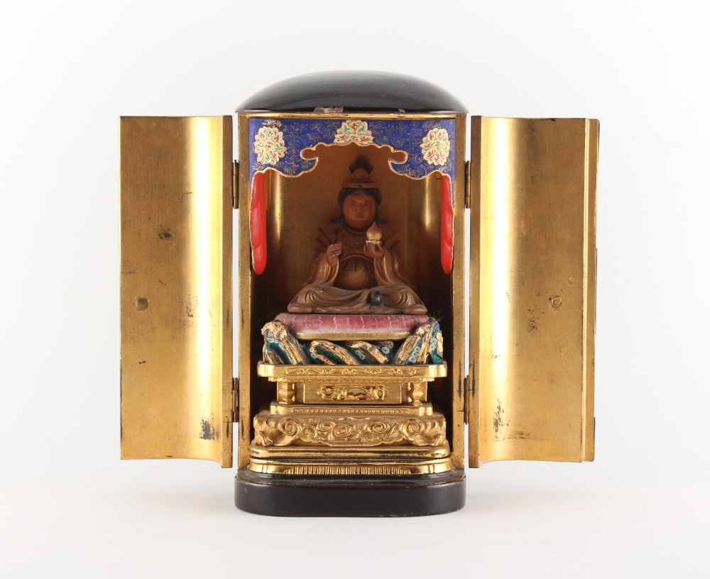 Property of a lady - a Japanese lacquer portable shrine, zushi, Meiji period (1868-1912), the