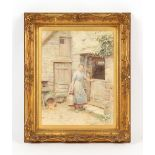 Property of a deceased estate - Henry James Johnstone (1835-1907) - A FARM MAID AT BARN DOOR -