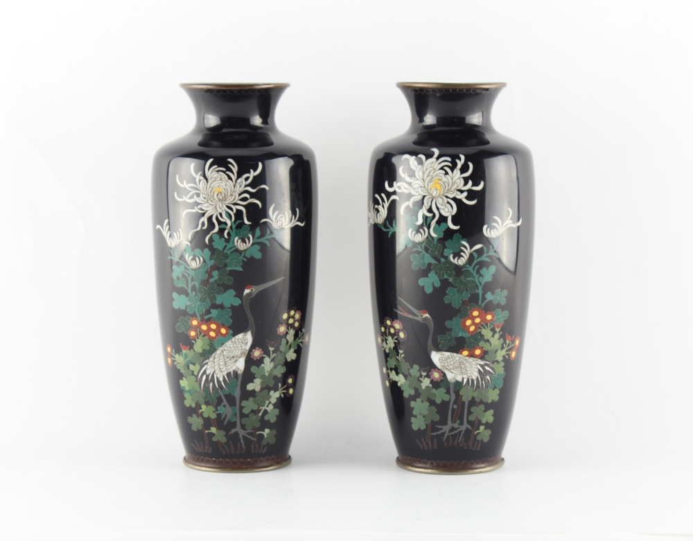 Property of a deceased estate - a pair of Japanese cloisonne vases, late Meiji period (1868-1912),