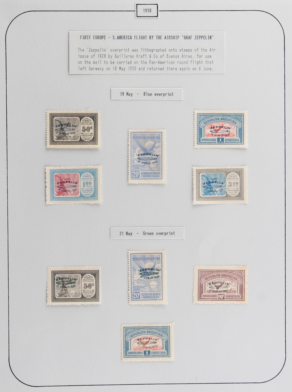 The Basil Lewis (1927-2019) collection of stamps - Argentina: 1930 Zeppelin blue overprinted 20c