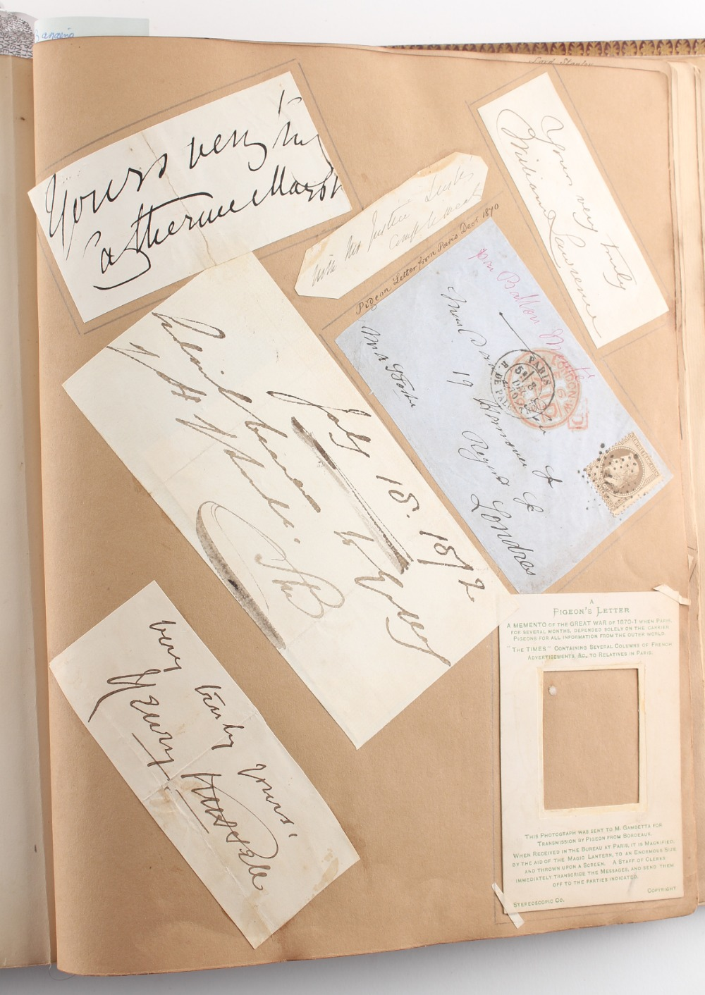 Stamps - World: the Victorian autograph and scrap album of Miss Emily Roberts, circa 1862-1897, with - Image 2 of 5