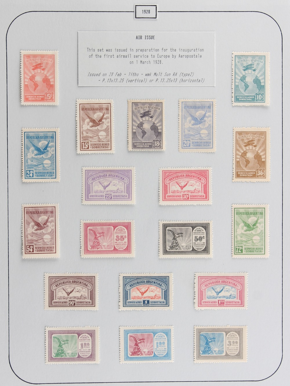 The Basil Lewis (1927-2019) collection of stamps - Argentina: 1928 Air 5c to 3p60 set with